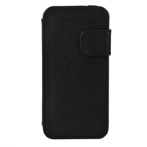 PU Leather Card Holder Case w/ Stand for iPhone 5s 5 - Black
