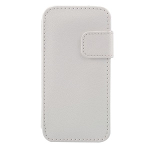 PU Leather Card Holder Cover w/ Stand for iPhone 5s 5 - White