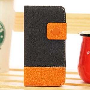 Two-tone Gravel Grain Leather Case Shell for iPhone 5s 5 - Black / Orange