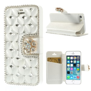 Shiny Rhinestone Coated Leather Stand Protective Shell for iPhone 5s 5 - White