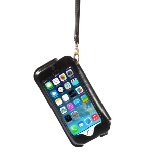 Transparent Front Screen Cover Leather Stand Case w/ Handy Strap for iPhone 5s 5 5c - Black