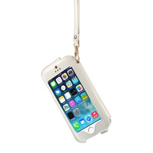 Transparent Front Screen Cover Leather Stand Case w/ Handy Strap for iPhone 5s 5 5c - White