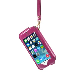 Transparent Front Screen Cover Leather Stand Shell w/ Handy Strap for iPhone 5s 5 5c - Rose