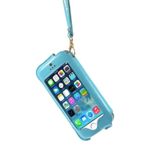 Transparent Front Screen Cover Leather Stand Case Shell w/ Handy Strap for iPhone 5s 5 5c - Blue