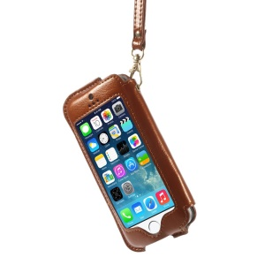 Transparent Front Screen Cover Leather Stand Case Shell w/ Handy Strap for iPhone 5s 5 5c - Brown
