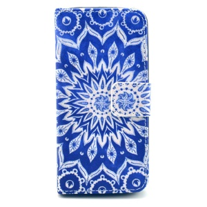 For iPhone 5s 5 Folio Stand Wallet Leather Protective Case - Tribal Flower