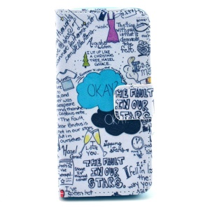Folio Stand Wallet Leather Protective Case for iPhone 5s 5 - Graffiti Characters