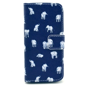 For iPhone 5s 5 Folio Stand Wallet PU Leather Case Accessory - Cartoon Elephants
