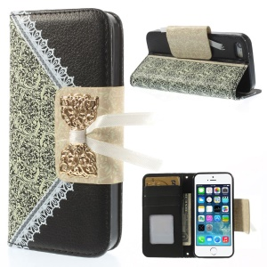Bowknot Magnetic Lace Pattern Leather Stand Case for iPhone 5s 5 - Black