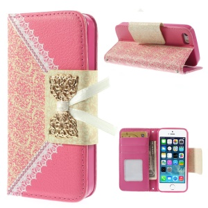 Bowknot Magnetic Lace Pattern Leather Stand Cover for iPhone 5s 5 - Rose