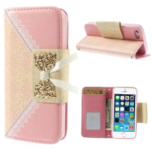 Bowknot Magnetic Lace Pattern Leather Wallet Case w/ Stand for iPhone 5s 5 - Pink