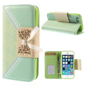 Bowknot Magnetic Lace Pattern Leather Wallet Cover w/ Stand for iPhone 5s 5 - Cyan