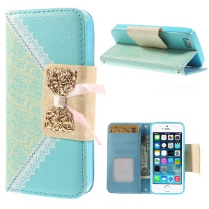 Bowknot Magnetic Lace Pattern Stand Leather Case w/ Card Slots for iPhone 5s 5 - Blue