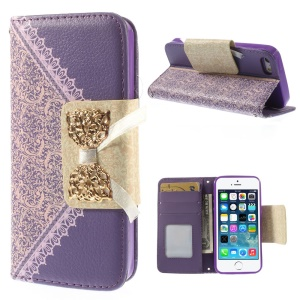 Bowknot Magnetic Lace Pattern Stand Leather Cover w/ Card Slots for iPhone 5s 5 - Purple