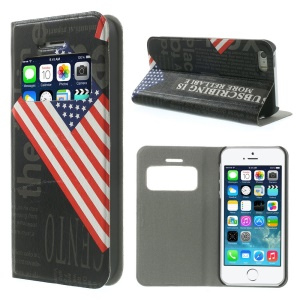 US The Old Glory View Window Leather Stand Case for iPhone 5s 5 w/ Card Slot