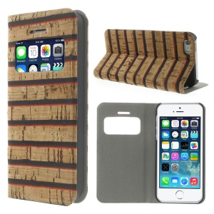 Wide Horizontal Lines Real Wood Skin View Window Stand Leather Cover for iPhone 5s 5 w/ Card Slot