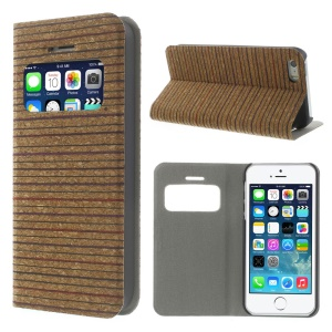 Dense Horizontal Lines Real Wood Skin View Window Stand Leather Shell for iPhone 5s 5 w/ Card Slot