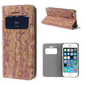 Crackled Wood Texture View Window Stand Leather Cover for iPhone 5s 5 w/ Card Slot - Rose