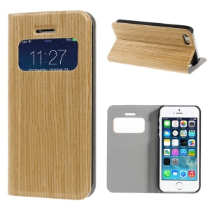 For iPhone 5s 5 Real Wood Skin View Window Magnetic Leather Stand Case - Beige