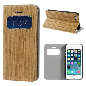For iPhone 5s 5 Real Wood Skin View Window Magnetic Leather Stand Cover - Light Brown