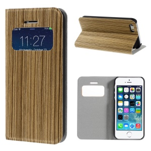 Real Wood Skin View Window Stand Leather Protective Case for iPhone 5s 5 - Light Grey