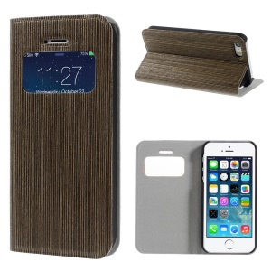 Real Wood Skin View Window Stand Leather Card Slot Case for iPhone 5s 5 - Dark Grey