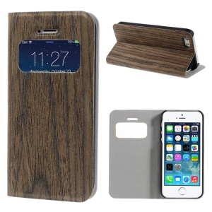 Irregular Pattern Real Wood Skin View Window Stand Leather Cover for iPhone 5s 5 - Coffee
