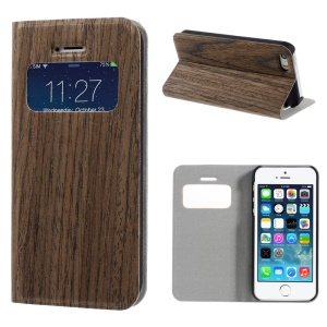 Vertical Lines Real Wood Skin View Window Stand Leather Phone Case for iPhone 5s 5 - Coffee
