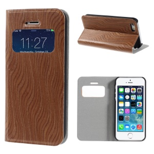 Real Wood Skin View Window PU Leather Stand Case for iPhone 5s 5 - Deep Brown