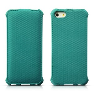 Banpa Vertical Fashion Wheat Texture Leather Flip Cover for iPhone 5s 5 - Cyan
