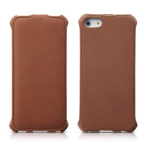 Banpa Fashion Wheat Texture Vertical Flip Leather Shell for iPhone 5s 5 - Brown