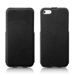 Banpa Woven Texture Vertical Flip PU Leather Case for iPhone 5s 5 - Black