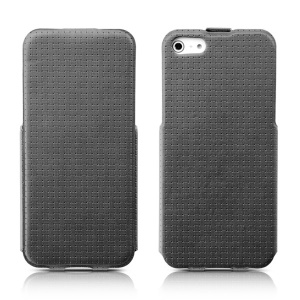 Banpa Woven Texture Vertical PU Leather Flip Cover for iPhone 5s 5 - Grey