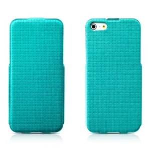 Banpa Vertical Flip Woven Texture PU Leather Case for iPhone 5s 5 - Cyan