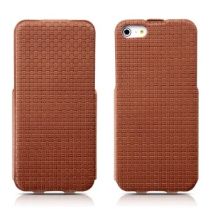 Banpa Vertical Flip Woven Texture PU Leather Shell for iPhone 5s 5 - Brown