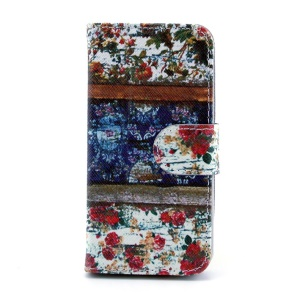 Vivid Flowers Leather Magnetic Case w/ Stand for iPhone 5s 5