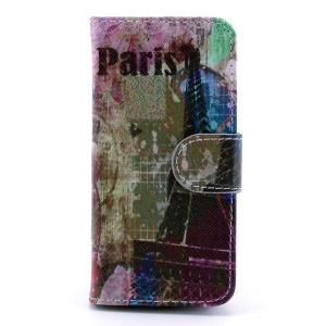 Colorized Eiffel Tower Leather Card Holder Case w/ Stand for iPhone 5s 5