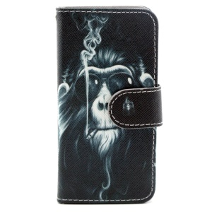 Smoking Monkey Leather Card Holder Cover w/ Stand for iPhone 5s 5