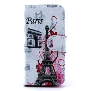 Triumphal Arch & Eiffel Tower PU Leather Stand Cover for iPhone 5s 5