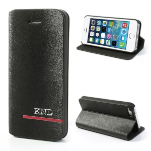 KND Mouse Lines Leather Flip Case for iPhone 5 5s - Black