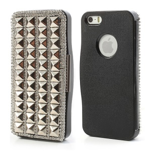 Pyramid Studs Rhinestone Leather Flip Cover with Back Hard Case for iPhone 5 5s - Black