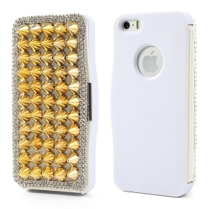 Punk Sharp Rivets Diamond Leather Case for iPhone 5 5s - Gold Rivets / White