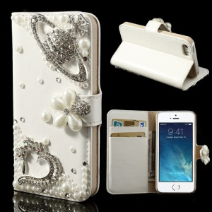 Diamond Heart Planet & Pearl Flower for iPhone 5 5s Leather Diary Case - White / Silver