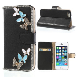 Black Diamond Flying Butterflies for iPhone 5 5s Leather Wallet Case