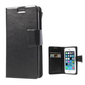 Black Universal Sucker Crazy Horse Wallet Leather Case for iPhone 5s 5c 5, Inner Size: 135mm x 68mm (Lx W)