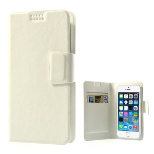 White Universal Sucker Crazy Horse Wallet Leather Case for iPhone 5s 5c 5, Inner Size: 135mm x 68mm (Lx W)