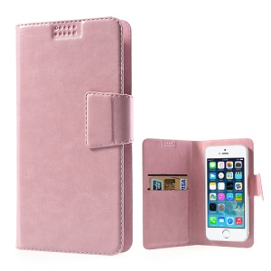 Pink Universal Sucker Crazy Horse Wallet Leather Cover for iPhone 5s 5c 5, Inner Size: 135mm x 68mm (Lx W)