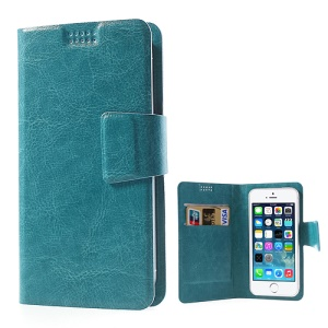 Blue Universal Sucker Crazy Horse Wallet Leather Cover for iPhone 5s 5c 5, Inner Size: 135mm x 68mm (Lx W)
