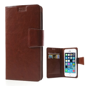 Brown Universal Sucker Crazy Horse Wallet Leather Shell for iPhone 5s 5c 5, Inner Size: 135mm x 68mm (Lx W)