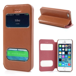 Red for iPhone 5 5s Slim Double Window Leather Stand Cover + Stylus Pen